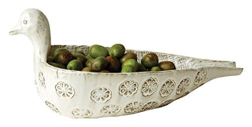 (Creative Co-op Decorative Terra-Cotta Bird Bowl in Distressed Cream Finish)