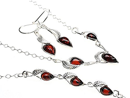 Amberbeata Sterling Silver, Cherry Genuine Baltic Amber Set (Bracelet, Earrings, Necklace)
