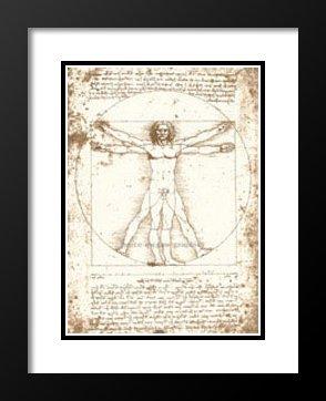 "Leonardo da Vinci Framed and Double Matted Art Print 29x35 ""The Vitruvian Man (serigraph and embossed)"""