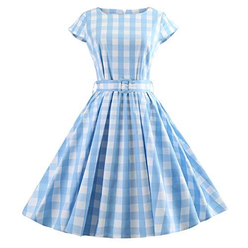 Vestito Vestiti Palla Toga Manica Abito Swing 1 Moda 2019 Azzurro Vintage Donna VestitoCorto Plaid Retro bIfv76gyY