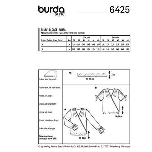 blouse Patron Patron Burda 6425 blouse 6425 Patron blouse Burda femme femme femme Burda 6425 Patron wCTvEq