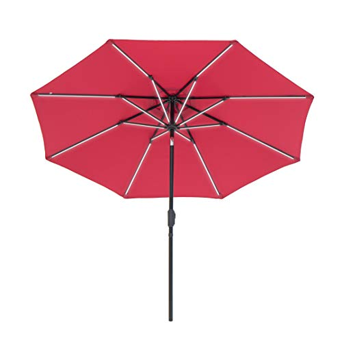 SUNNYARD Solar Powered Outdoor Patio Umbrella 9 Feet Led Strip Market Patio Umbrella with Crank and Tilt for Outdoor, Red