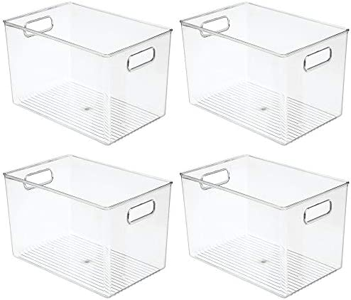 """41WYXfodvhL. AC mDesign Deep Plastic Home Storage Organizer Bin for Cube Furniture Shelving in Office, Entryway, Closet, Cabinet, Bedroom, Laundry Room, Nursery, Kids Toy Room - 12"""" x 8"""" x 7.75"""" - 4 Pack - Clear    These plastic Storage Boxes by mDesign are perfect for keeping your home organized and clutter-free. They offer roomy space for a variety of items and they fit perfectly into cube storage shelving units. Slide these into the cubbies and you are ready to get organized! The open top makes it easy to see what is stored inside and quickly grab what you need. The integrated handles make moving the cube baskets on and off of shelves easy."""