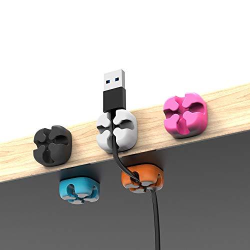 Wffo 5 Pcs Cross Slicone Cable Organizer♚Desktop Organizer Winder Management Headphone Cord Holder (Multicolor)