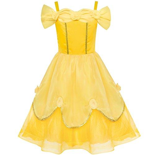 Girls Dress Yellow Princess Belle Costume Birthday Party Size 12