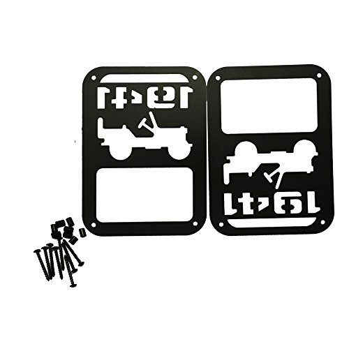 SXMA Taillight Cover Trim Guards Protector,Black Stainless Steel Guard Light Cover Kit for Jeep Wrangler JK JKU Sports Sahara Freedom Rubicon X & Unlimited 2007-2017(Black) (1941) Contour Tail Light Covers