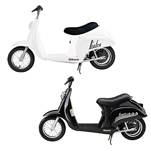 (Razor Pocket Mod Miniature Euro 24V Electric Retro Scooters, 1 White & 1 Black )