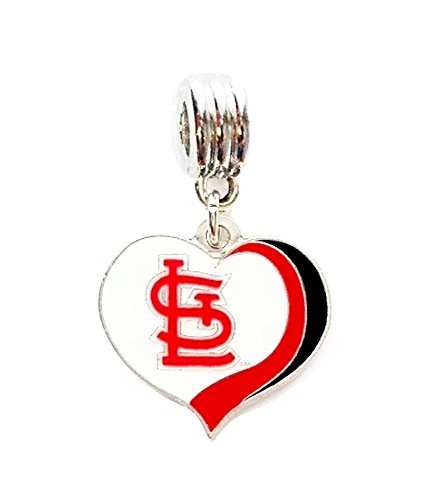 Slide Louis Cardinals (Heavens Jewelry ST LOUIS CARDINALS BASEBALL TEAM HEART CHARM SLIDE PENDANT FOR YOUR NECKLACE EUROPEAN CHARM BRACELET (Fits Most Name Brands) DIY PROJECTS ETC)