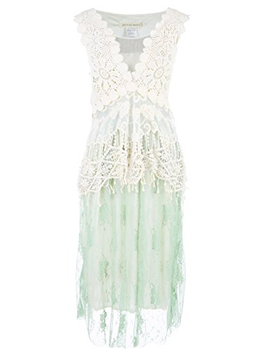 Anna-Kaci Seafoam Granny Influence Embroidery Detail Lace Ruffle Dress - Medium/Large