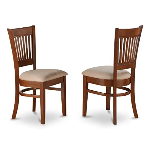 East West Furniture VAC ESP C Microfiber Upholstered Seat Chairs For Dining  Room, Espresso Finish, Set Of 2