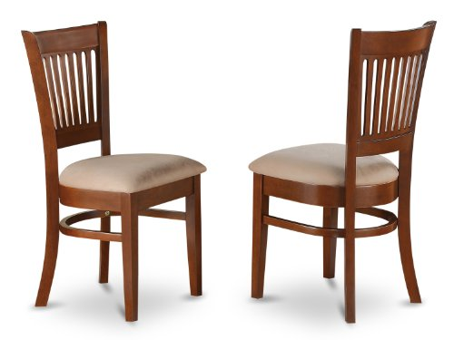 East West Furniture VAC-ESP-C Microfiber Upholstered Seat Chairs for Dining Room, Espresso Finish, Set of 2 Review