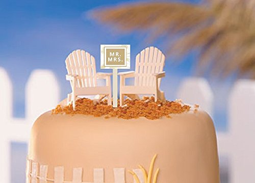 CakeSupplyShop White Small Mini Decorative Adirondack Beach Chair Wedding Anniversary Cake Decoration Toy Toppers (Set of 2 with Mr & Mrs Sign)