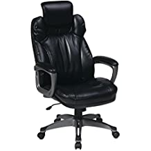 Office Star Executive Eco Leather Chair with Padded Arms, Adjustable Headrest, and Titanium Coated Frame, Black
