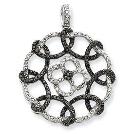 Sterling argent noir et blanc diamant brut JewelryWeb Pendentif Motif cercles