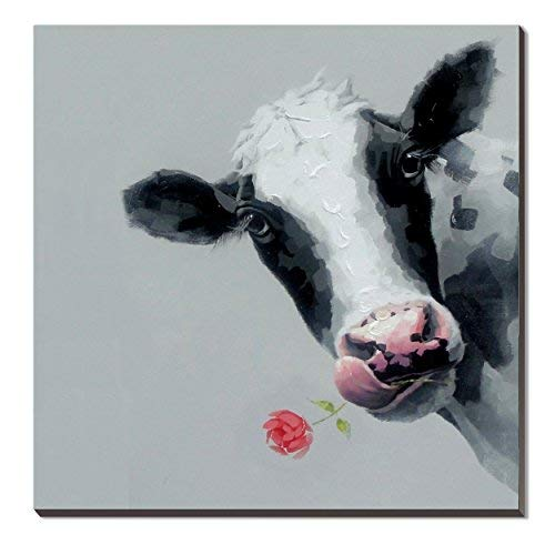 3Hdeko - Cow Picture Wall Decor Animal Oil Painting Cattle Canvas Art for Living Room Kid Bedroom Nursery, Ready to Hang (30X30inch)