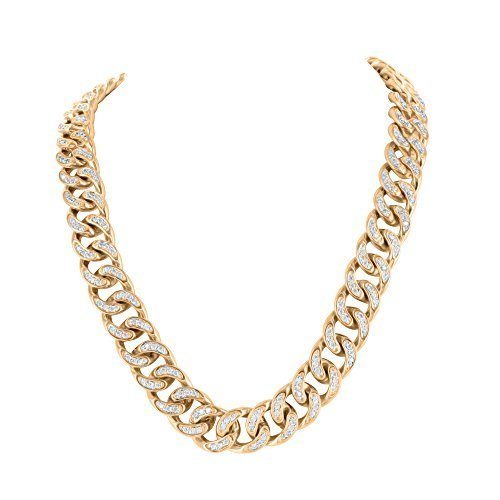 36' Miami Cuban Link Rose Gold Finish Necklace For Sale Necklace Chain by Master Of Bling