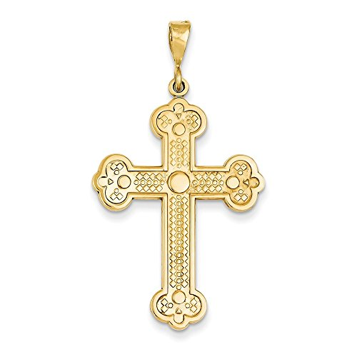 14k Yellow Gold Solid Polished Flat back Textured back Not engraveable Budded Cross Pendant - Measures 25.7x46.6mm ()
