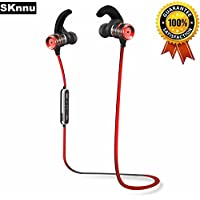 SKnnu Earhook Bluetooth Earbuds Fitness Headphones Earhook Bluetooth Headphones w/ Noise Cancelling,Ergonomical Earhooks,Sweatproof,MIC,Stereo Sound for Exercise,enjoyment Red