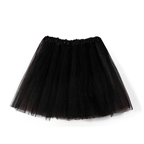 Nevera Women Short Tutu Costume Tulle Skirt Dance Multi-Colored Party Black]()