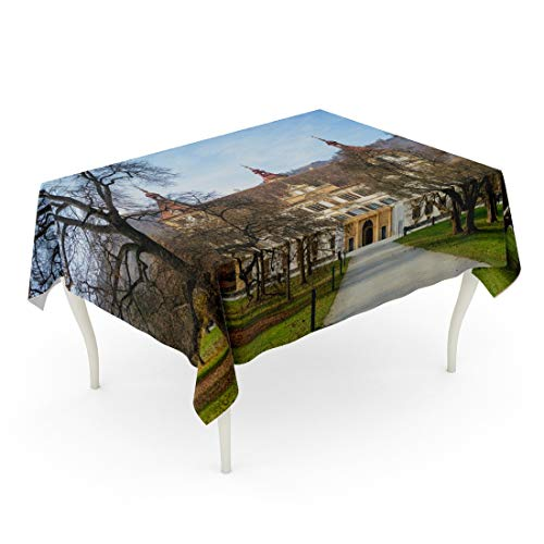 Tarolo Rectangle Tablecloth 60 x 90 Inch Blue Architecture Autumn Park and Front Facade of The Eggenberg Castle in Graz Styria Austria Attraction Table Cloth (Best Attractions In Austria)