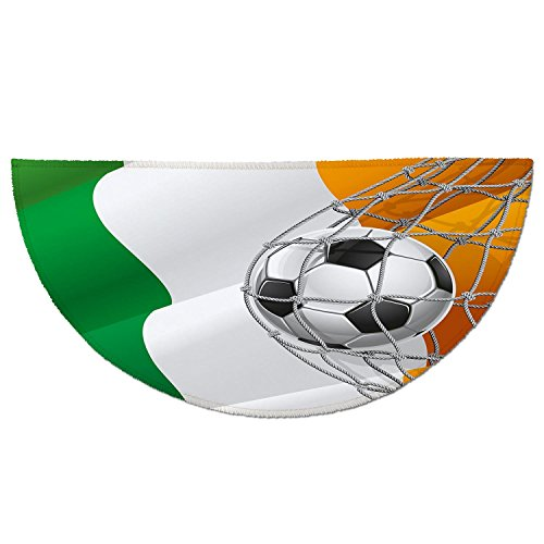 Half Round Door Mat Entrance Rug Floor Mats,Irish,Sports Theme Soccer Ball in a Net Game Goal with Ireland National Flag Victory Win,Multicolor,Garage Entry Carpet Decor for House Patio Grass Water