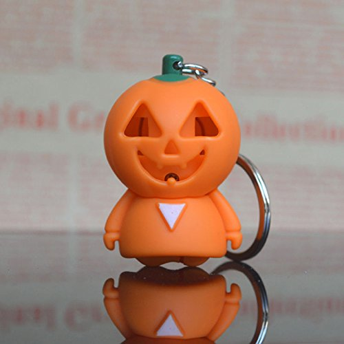 Clown Girl Costumes 46 (UNAKIM --Funny Halloween Keyring Creative Ghost Shaped Sound Pumpkin LED Light Keychain)