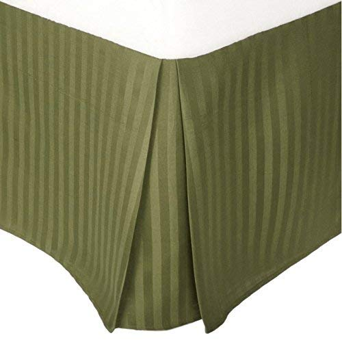 Amuze Bedding 300 TC Egyptian Cotton Stripe Pattern Easy Fit 1-Piece Pleated Tailored Bedskirt with 14 Inches Drop and Split Corners - Stripe Green Bedskirt