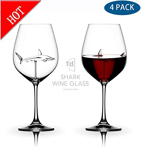 TTbuy Italian Red Wine Glasses - Shark Wine Glasses with Shark Inside for Adults,Creative Goblet Glass,Lead-Free Crystal Clear Wine Glasses,High-end Flutes Glass Perfect for Homes/Bars/Party(4 PCS) (End High Champagne Glasses)