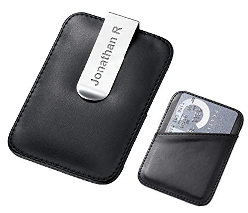 Executive Gift Shoppe | Personalized Faux Leather Money Clip | Black Leatherette Credit Card Holder | Free Custom Engraving | French Fold Grip | Wallet Alternative | Holds Up to 15 Bills & 3 Cards Black Leatherette Money Clip
