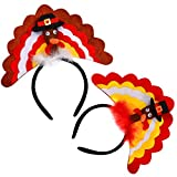 JOYIN Set of 2 Thanksgiving Turkey Headbands Holiday Party Accessories (One Size Fit All)