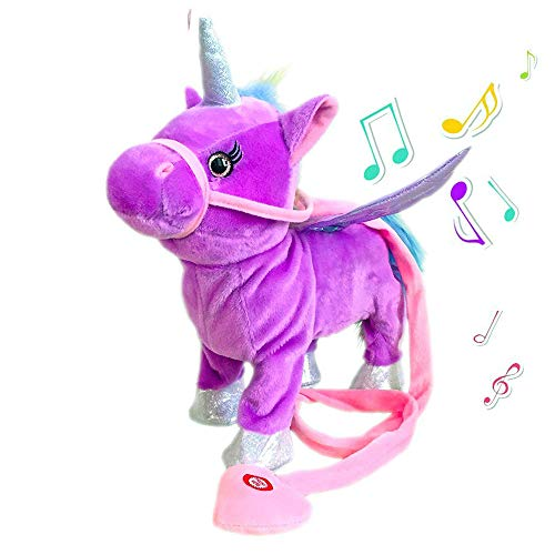 Horse Toy Musical - TACY Singing and Walking Electronic Pet Unicorn Plush Toys Pegasus Pink Robot Horses Musical Puppy Pet Soft Toys Gift Toy for Baby Toddlers Kids Pets (Purple)
