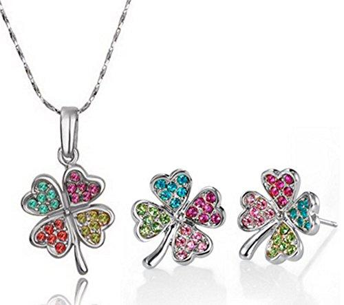 AmaranTeen - four Leaf Clover choker crystal necklace