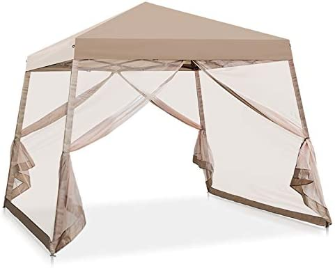 COOL Spot 10 x 10 Slant Leg Pop Up Canopy Tent w Mosquito Netting 64 Square Feet of Shade One Person Set-up Outdoor Instant Folding Shelter Beige