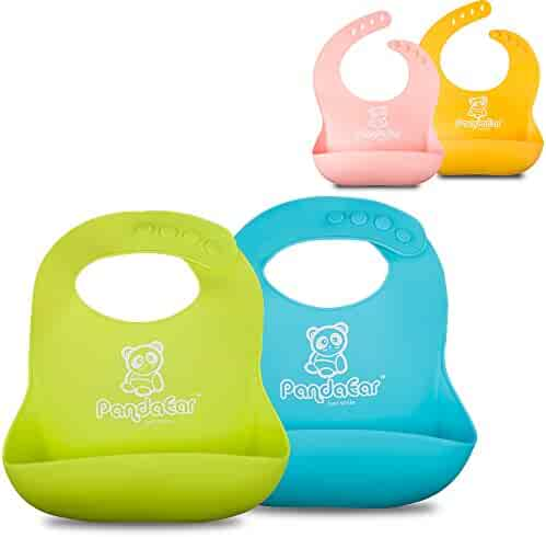 Single or Set of 2 Colors Cute Silicone Baby Bibs for Babies & Toddlers (10-72 Months) by Panda Ear-Waterproof, Soft, Unisex, Non Messy- Money Back Guarantee -Single Pink