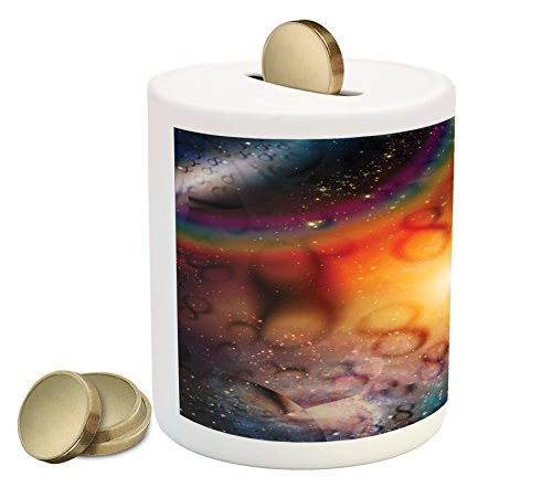Astrology Enrich oneself Box Bank by Ambesonne, Abstract Astral Spiritual Illlustration Of The Universe Electricity In Infinity, Printed Ceramic Coin Bank Bundle Box for Cash Saving, Multicolor