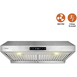"BV Touch Screen 860 CFM 30"" Stainless Steel Under Cabinet Ducted (3 Installation Ways) Kitchen Range Hood with 3.5W LED Lights"