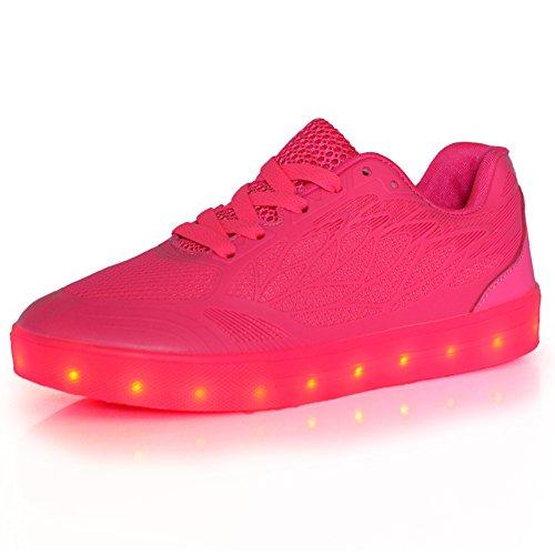 LED Trainer Atmungsaktiv Lade Sneakers N Mesh Schuhe frauen Kinder Farben O Rose 7 Mädchen USB Leuchtet Flashing Red XF0RvZqx