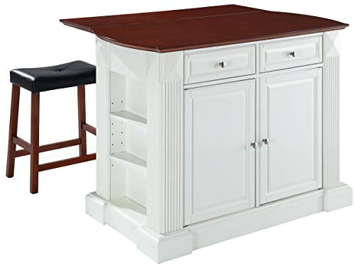 Crosley Furniture KF300074WH Drop Leaf Kitchen Island/Breakfast Bar with 24-inch Upholstered Saddle Stools, White / Classic Cherry from Crosley Furniture