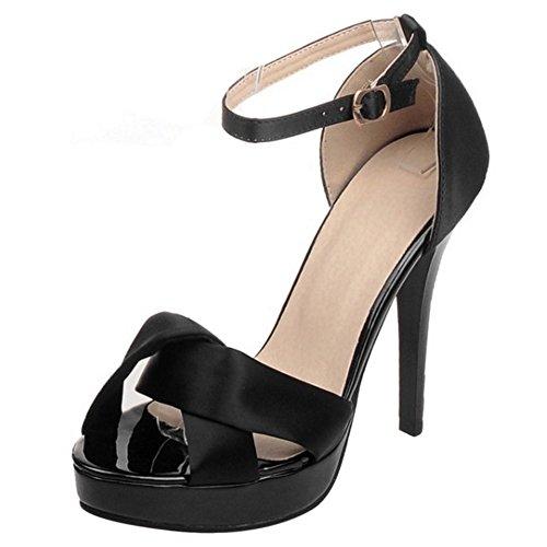 COOLCEPT Mujer Moda Correa de tobillo Sandalias Punta Abierta Tacon de Aguja Zapatos Negro