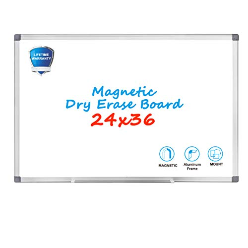Magnetic Dry Erase Board - WEYOUNG 36 x 24 Inch Wall Hanging White Board with Aluminum Frame for School, Home, Office (24 X 36 Magnetic Dry Erase Board)