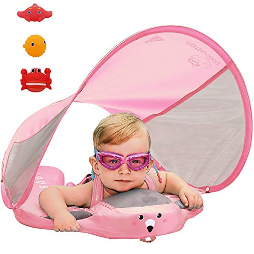 PRESELF Baby Solid Folat with Canopy Safety Aquatics Floating Ring Fit Infant Toddler Swimming Pool Swim School Training (Pink)