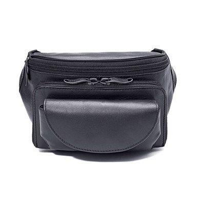 Cowhide Leather Large Fanny Pack Color: Black