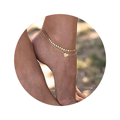 Daycindy Double Anklet Chain Simple Heart Elegant Chain Beach Jewelry for Women - Gold Ankle Bracelet