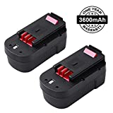 [Upgraded to 3600mAh] HPB18 Battery for Black and Decker 18V Battery 3.6Ah HPB18-OPE 244760-00 A1718 FSB18 Firestorm 2-Pack
