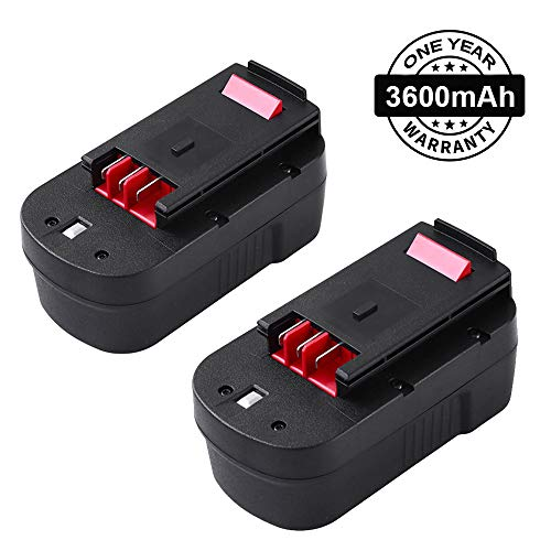 [Upgraded to 3600mAh] HPB18 Battery for Black and Decker 18V Battery 3.6Ah HPB18-OPE 244760-00 A1718 FSB18 Firestorm 2-Pack ()