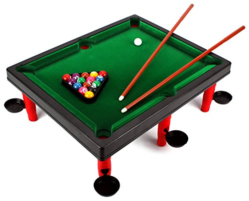 VT Mini World Champion Toy Billiard Pool Table Game w/ Table, Full Set of Billiard Balls, 2 Cues, Triangle