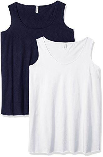 Premium Cotton Tank - Clementine Apparel Women's Plus Ladies Curvy Premium Tank (2 Pack), White/Navy, Size 3 (22-24)
