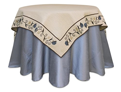 Melrose 54'' Square Beige Jute Vine Embroidered Decorative Christmas Table Topper by Melrose