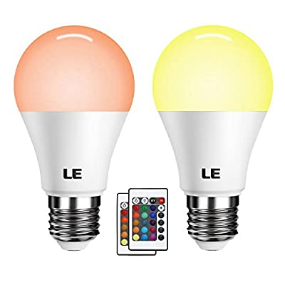 LE A19 E26 LED Light Bulb, 40W Incandescent Equivalent, RGBW, Dimmable, 6W 470lm, 4 Modes Color Changing with Remote Control, for Home, Living Room, Bedroom and More