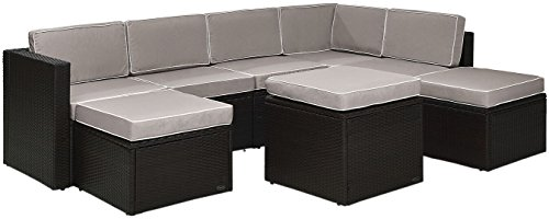 Crosley Furniture KO70008BR-GY Palm Harbor 8-Piece Outdoor Wicker Sectional Seating Set with Grey Cushions, Brown